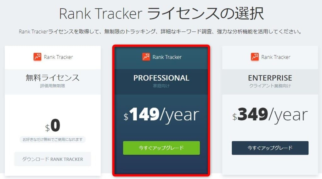 Rank Trackerのおすすめ料金プラン